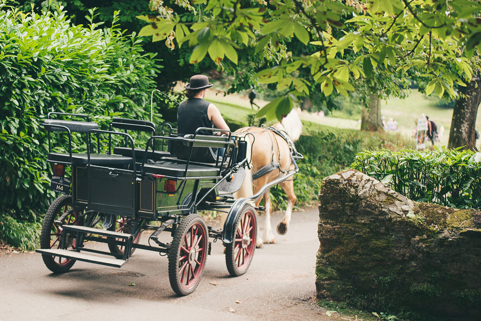 Horse drawn carriage at Cockington